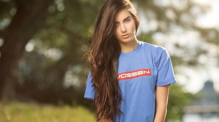 blue, brunette, makeup, girl, wheels, T, shirt, Vossen