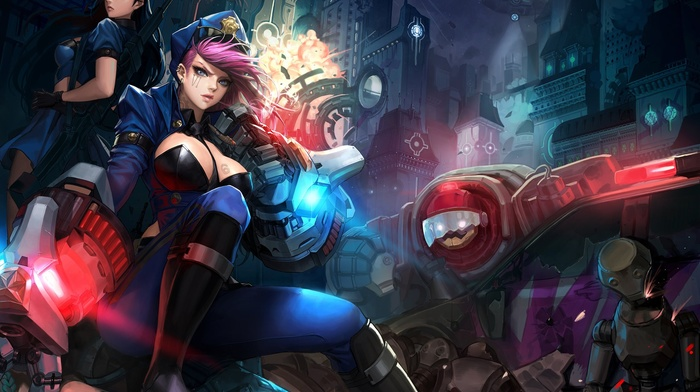 Jinx League of Legends, manga, Vi, Caitlyn league of legends, League of Legends, Blitzcrank league of legends
