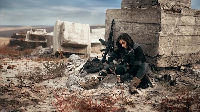 girl with guns, brunette, desert, photography, black dress, AK, 74, angel