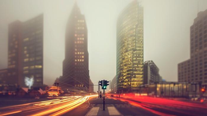 skyscraper, Berlin, Germany, mist, street, cityscape