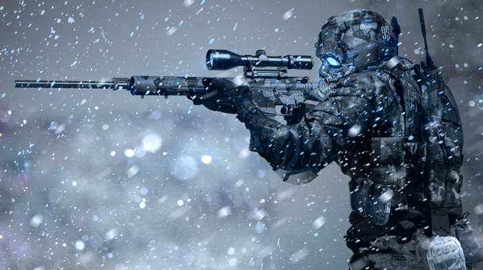 futuristic, sniper rifle, winter, soldier, science fiction, snow