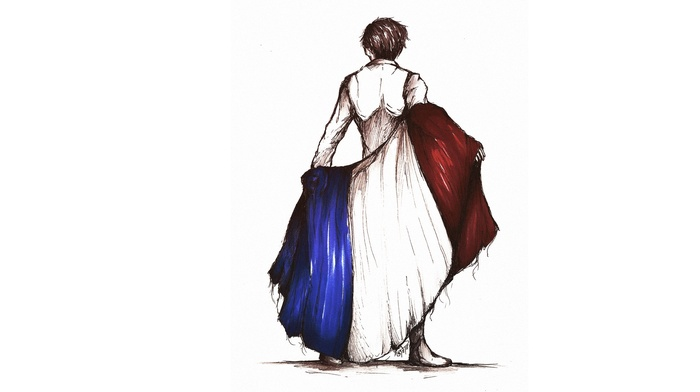 France, flag, sketches