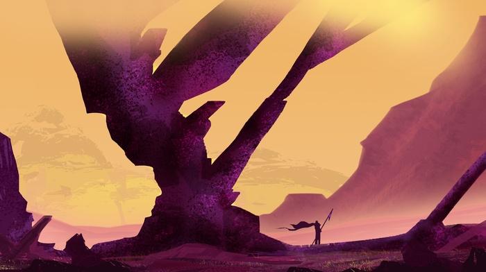 purple, vectors, mountain