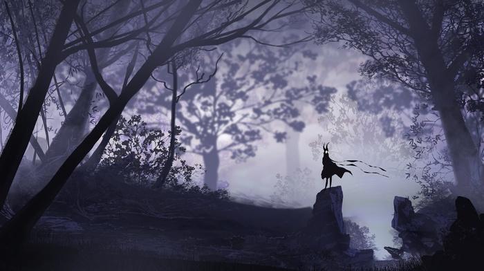 vectors, forest, dark