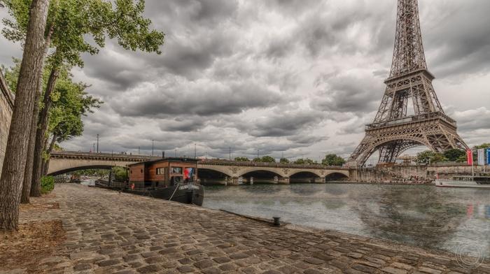 boats, tower, HDR, city, France, clouds, Eiffel Tower, bridge, Paris