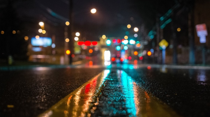 lights, street, blurred, urban, wet, reflection