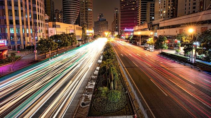 Shanghai, street, road, long exposure, HDR, urban, lights