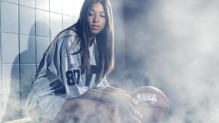 fashion, T, shirt, NBA, long hair, basketball, girl