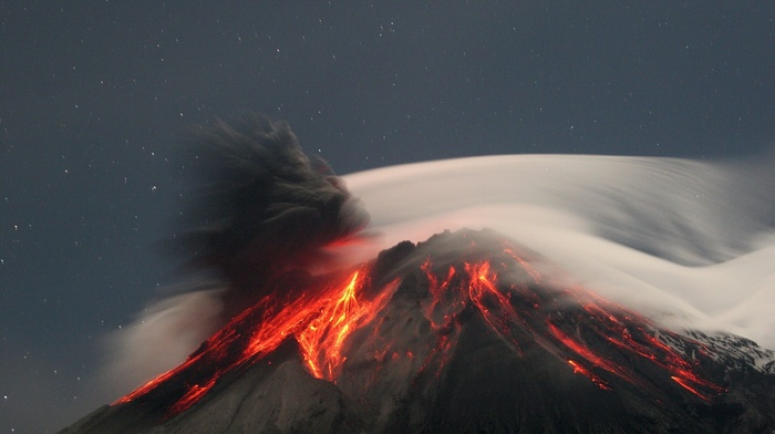 volcanic eruption, nature, lava, eruption, rock, stars, volcano, trees, Ecuador, long exposure, landscape, clouds, night, smoke