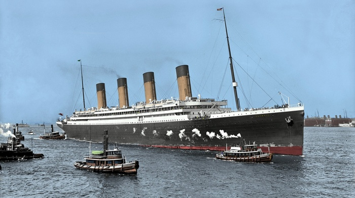 sea, history, dock, smoke, UK, ship, crowds, landscape, chimneys, nature, RMS Olympic, boat, colorized photos, steamship