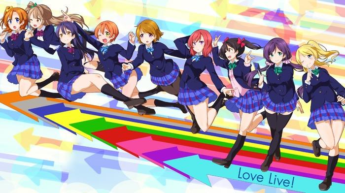 Ayase Eri, Hoshizora Rin, Love Live, Kousaka Honoka, Nishikino Maki, Minami Kotori, school uniform, anime girls, Koizumi Hanayo, Toujou Nozomi, anime, Yazawa Nico, Sonoda Umi