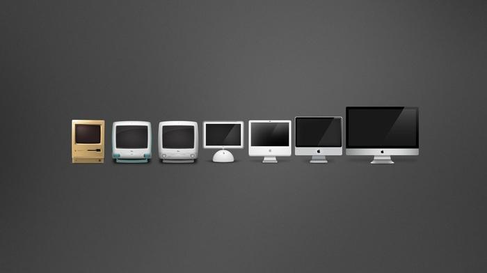 evolution, Apple Inc., gray background, computer, minimalism