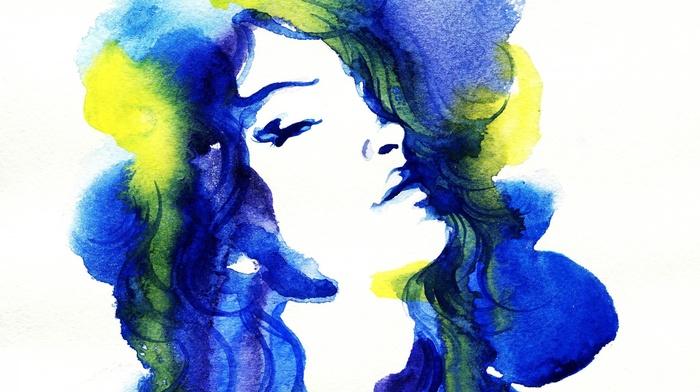 artwork, long hair, portrait, white background, face, blue hair, girl, simple, painting
