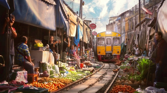 bar, fruit, railway, diesel locomotives, house, Thailand, Asia, train, satellite, blankets, vegetables, markets, clouds, Bangkok, people