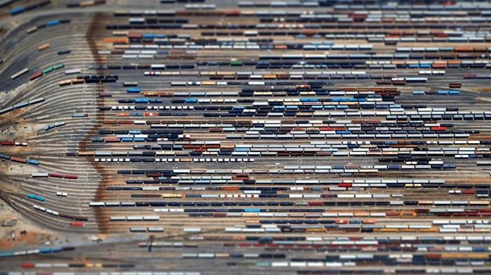 diesel locomotives, train station, railway, train, lines, blurred, aerial view, tilt shift