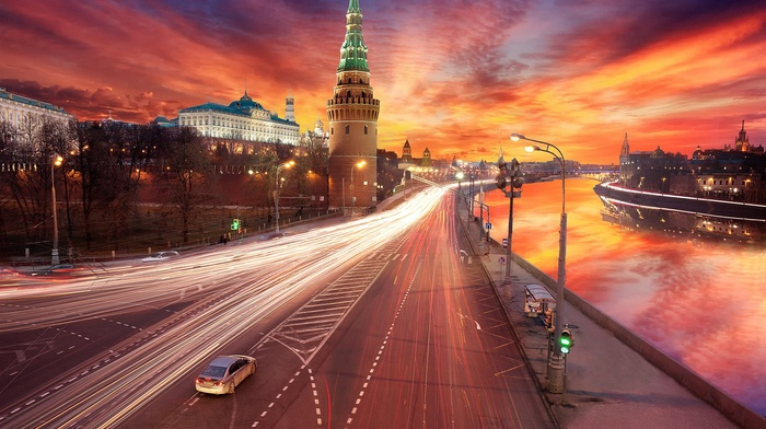 architecture, car, city, capital, river, old building, Moscow, building, light trails, sunset, clouds, road, reflection, cityscape, street, Russia, long exposure, traffic lights, town square, lights, Kremlin
