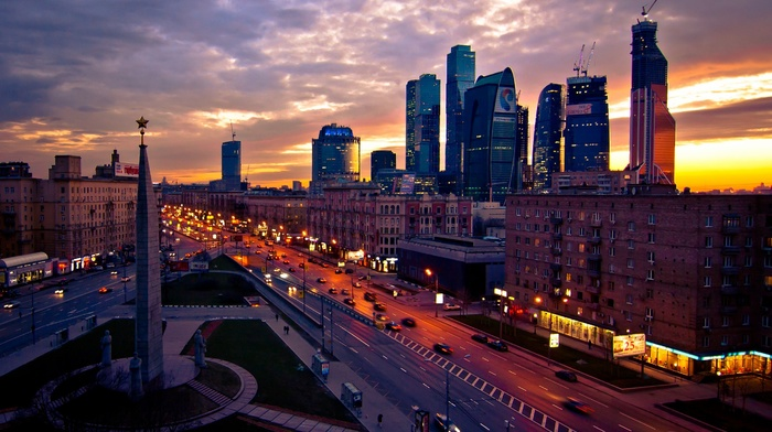 city, lights, skyscraper, architecture, street, clouds, building, capital, sunset, Moscow, town square, Russia, cityscape, evening, road, cranes machine, car