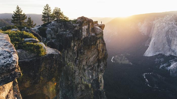 Walk Towards the Edge, mist, forest, mountain, Yosemite National Park, cliff, landscape, nature, sunset, valley, trees, river