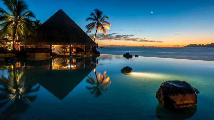 landscape, swimming pool, nature, reflection, bar, water, sea, blue, palm trees, resort, French Polynesia, moon, beach, lights, sunset