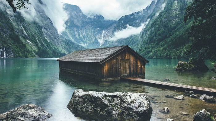 boathouses, mountain, forest, landscape, lake, Germany, nature, clouds