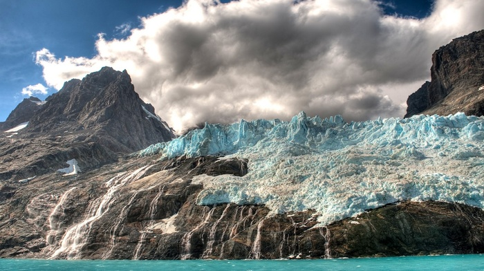 waterfall, sea, HDR, clouds, glaciers, island, mountain, nature, landscape