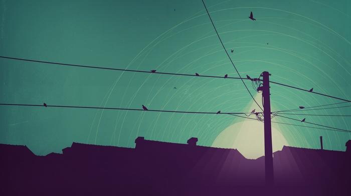 sky, sunrise, birds, rooftops, artwork