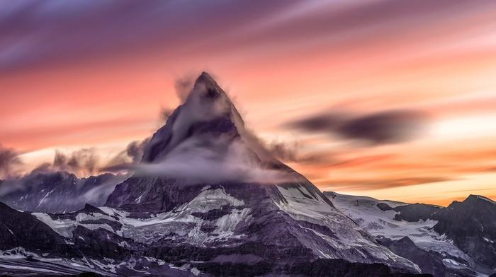 Matterhorn, clouds, Switzerland, sunset, nature, long exposure, mountain, landscape, Alps