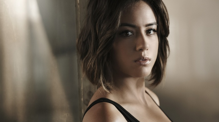 face, brunette, Agents of S.H.I.E.L.D., brown eyes, depth of field, Chloe Bennet, actress, bare shoulders, open mouth, looking at viewer, girl, tank top, long hair