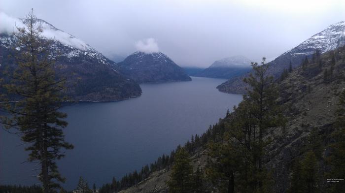 pine trees, landscape, clouds, Cascade Mountains, Lake Chelan, mountain, lake