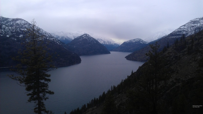 pine trees, Lake Chelan, lake, clouds, landscape, Cascade Mountains, mountain