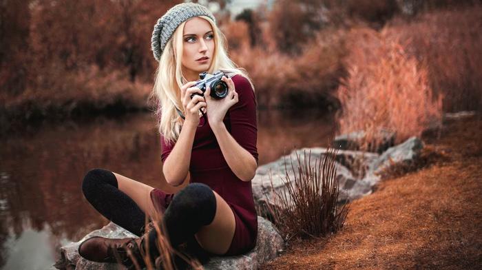 leggings, blonde, hat, camera, red dress, pond, nature
