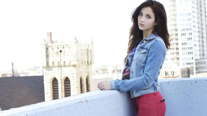 emily rudd, long hair, rooftops, looking at viewer, denim, sensual gaze