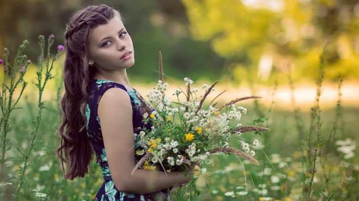 depth of field, brunette, bare shoulders, girl outdoors, nature, flowers, summer, wavy hair, girl, grass, model, open mouth, long hair, trees, looking at viewer, blue dress, field