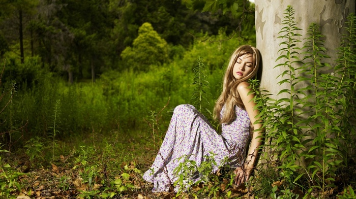 open mouth, closed eyes, long hair, sitting, plants, dress, bare shoulders, nature, juicy lips, trees, blonde, girl, model, girl outdoors, leaves