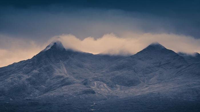 hill, mist, nature, mountain, dark, Skye, Scotland, landscape, island, clouds, UK, rock