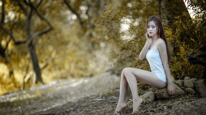 legs, open mouth, tank top, trees, looking at viewer, bottomless, barefoot, sitting, brunette, Asian, model, long hair, stones, bare shoulders, girl, nature
