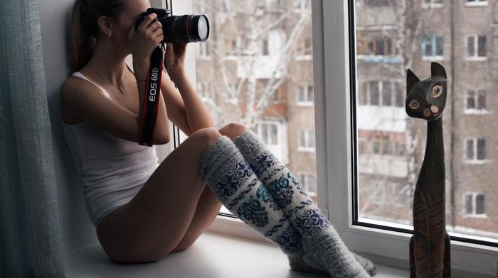 camera, girl, brunette