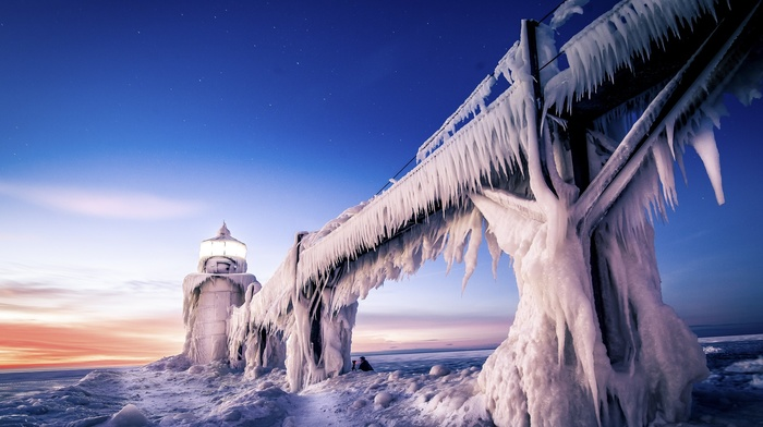 nature, ice, lighthouse