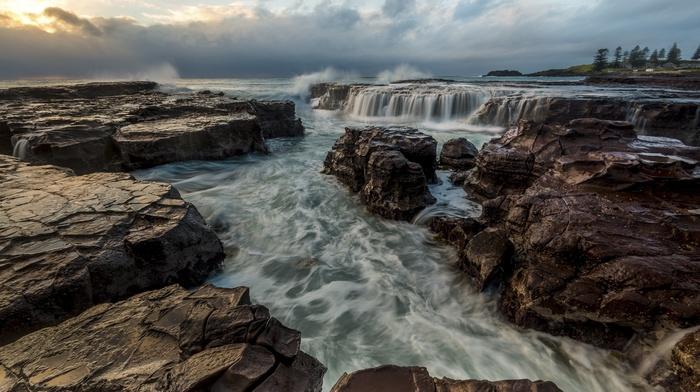 water, nature, sea, waterfall, HDR, long exposure, rock