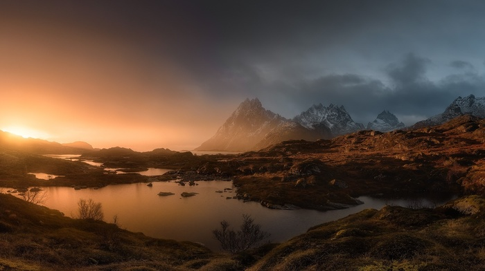 nature, shrubs, snowy peak, mist, mountain, pond, sunrise, landscape, Norway, Lofoten Islands, panoramas, clouds