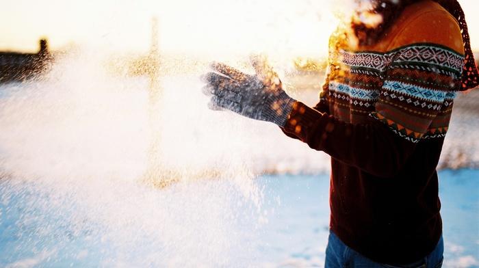 snow, gloves, sunset, people, winter