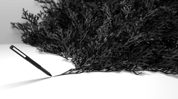 digital art, white background, drawing, CGI, tape, monochrome, minimalism, pens, simple, blurred, render, 3D