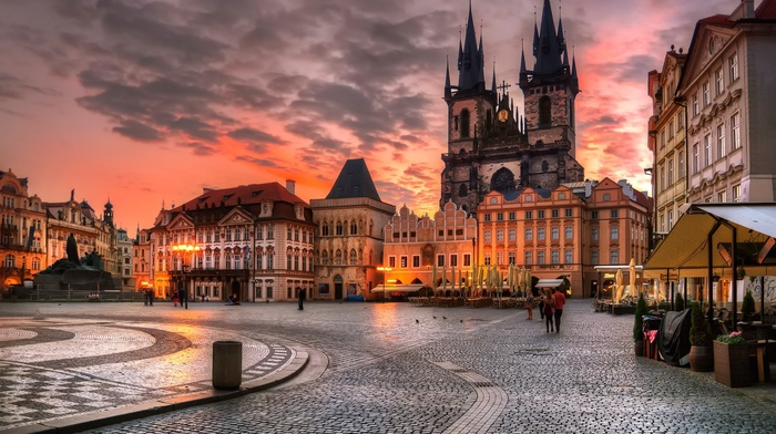 architecture, Czech Republic, history, people, lights, statue, old building, house, cathedral, cityscape, Prague, city, HDR, sunset, clouds, evening, town square, building, cafes