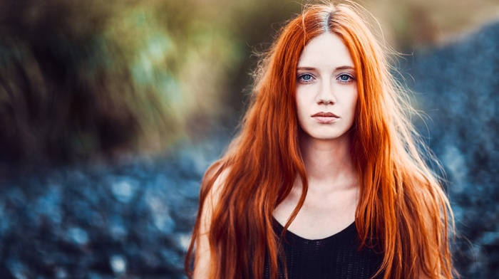blue eyes, blurred, face, nature, bare shoulders, model, girl outdoors, tank top, portrait, black tops, girl, redhead, looking at viewer, depth of field, long hair