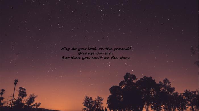 nature, night, sunset, evening, quote, stars, universe, orange