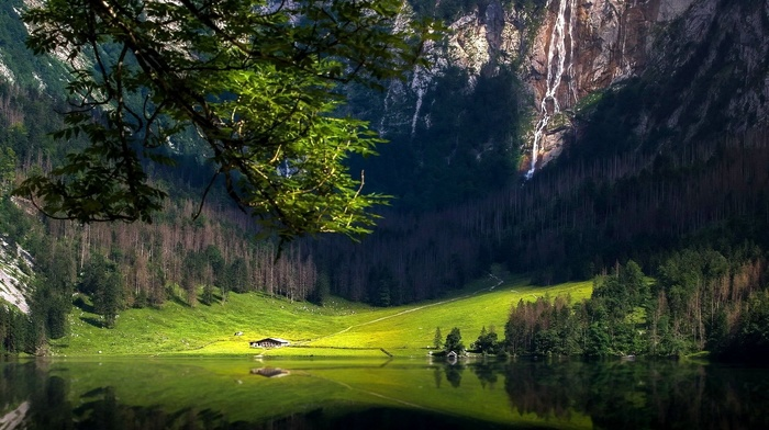 cabin, waterfall, landscape, forest, reflection, Germany, trees, nature, grass, lake, mountain
