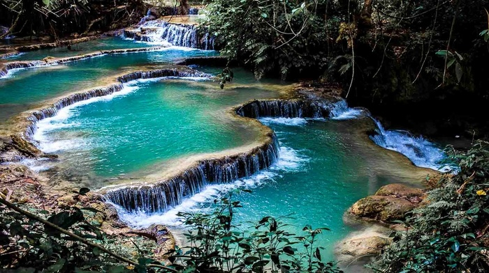nature, foliage, landscape, waterfall, laos, pond, terraces, shrubs