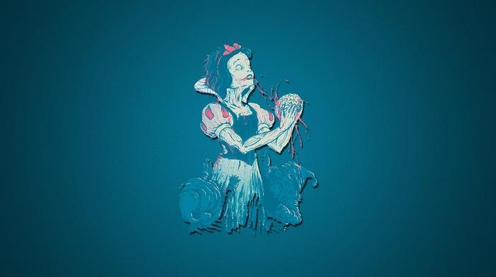 brains, Snow White, zombies, blood, artwork