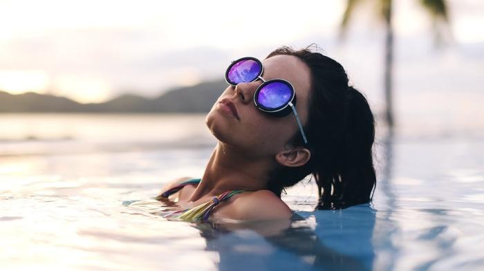 model, girl outdoors, wet, glasses, brunette, bikini, ponytail, girl, water, Aurela Skandaj, sunglasses, girl with glasses