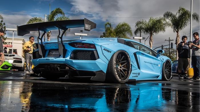 LB Performance, Lamborghini Aventador, Lamborghini, vehicle, blue cars